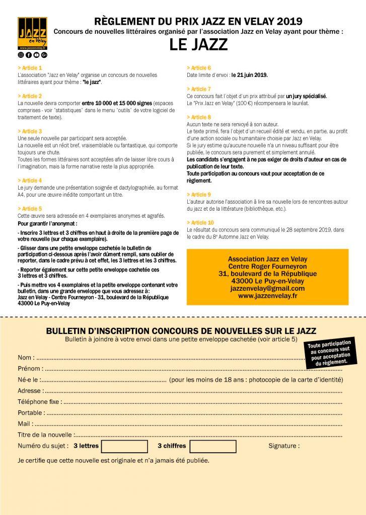 Règlement prix Jazz en Velay.